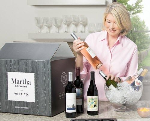 Martha Stewart choosing wines from a box