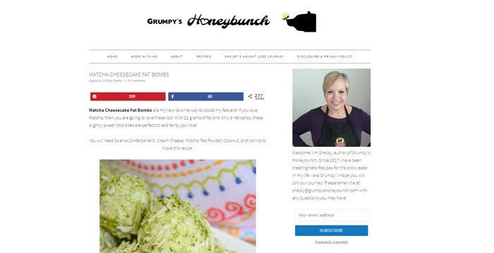 Website screenshot from Grumpy's Honeybunch