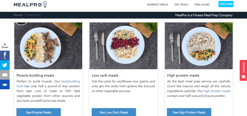 Meal Pro website showing muscle building, low carb and high protein meals