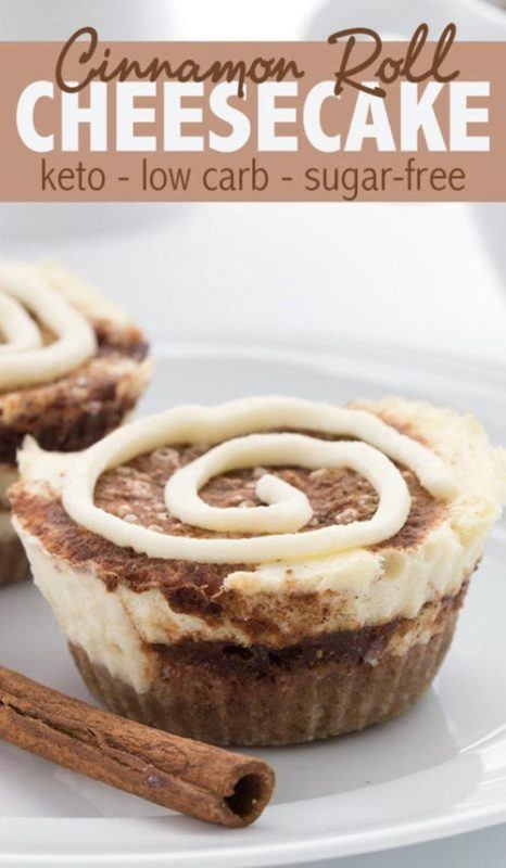 Two small cinnamon roll cheesecakes
