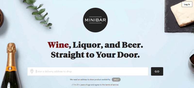 Minibar Website Screenshot showing a bottle of alcohol and various items on a light blue background