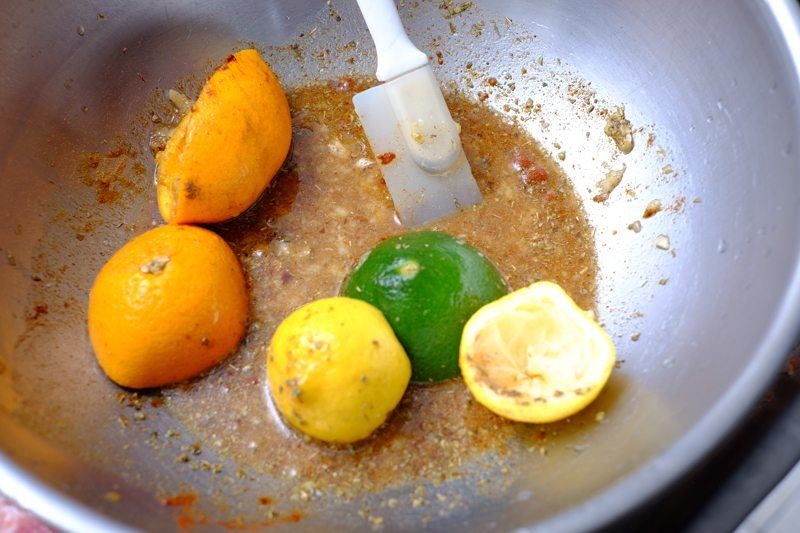 combine all ingredients for the marinade. use fresh squeezed juices