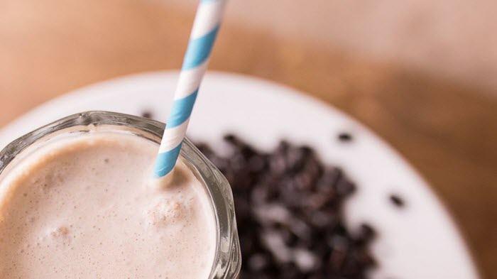 A small mocha smoothie