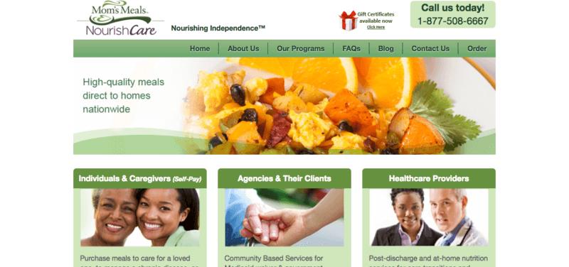 Mom's Meals website screenshot including phone number and links to website navigation