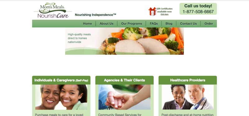 Website for Mom's Meals, showing a chicken dinner, along with sections for individuals & caregivers, agencies & clients and healthcare providers.