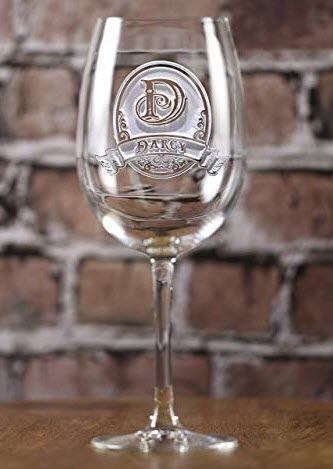Wine glass with a deep engraved monogram and name.