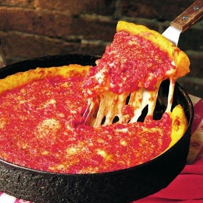A deep dish pizza with cheese