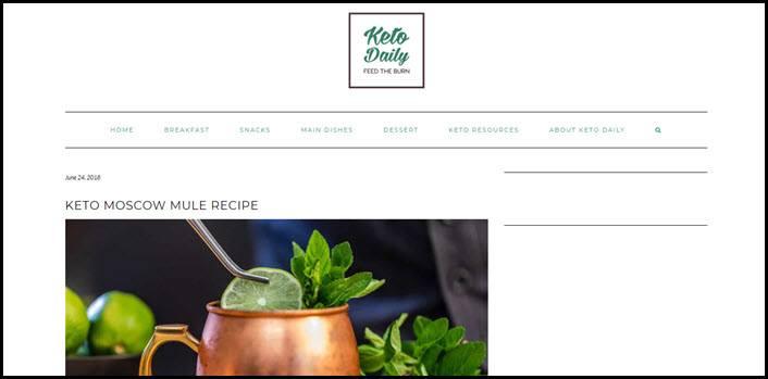 Website screenshot from Keto Daily