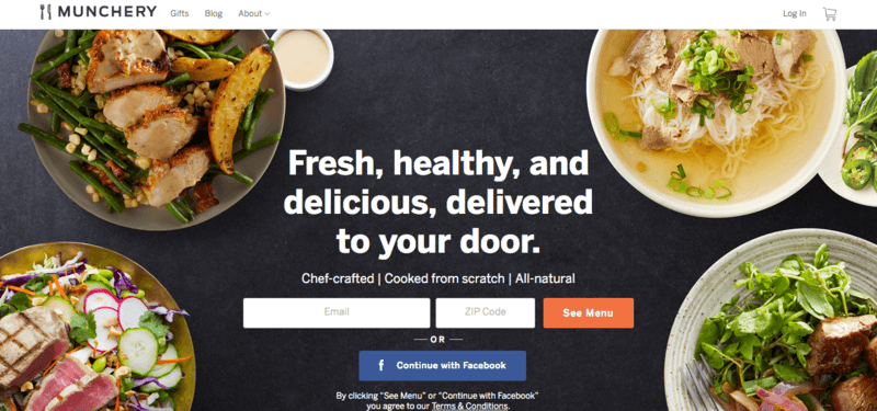 munchery website screenshot including four bowls of impressive meals, along with one side.