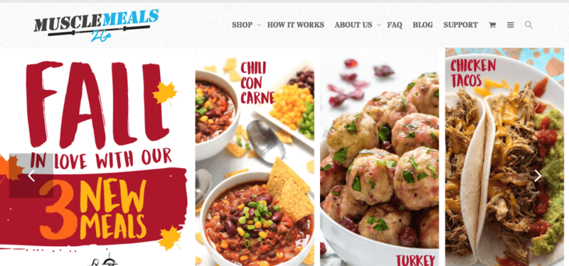 Muscle Meals website screenshot showing Chili Con Carne, Turkey Meatballs and Chicken Tacos