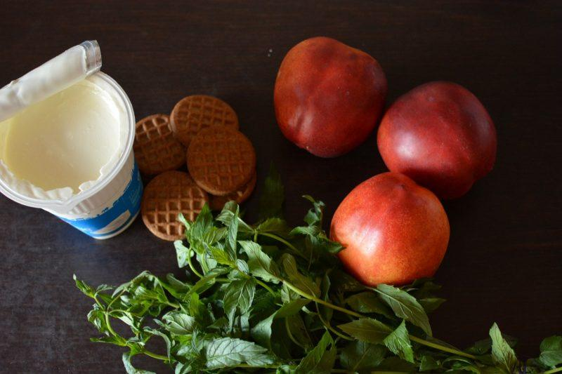 Nectarine, chia seeds and mint dessert ingredients