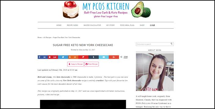 A website screenshot from My PCOS Kitchen
