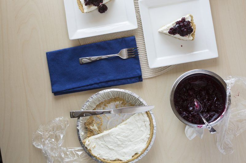 No-Bake Cheesecake Cherry Compote Top Down Prep Area Tabe Top Behind The Scenes