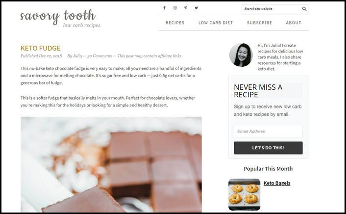 Website screenshot from Savory Tooth