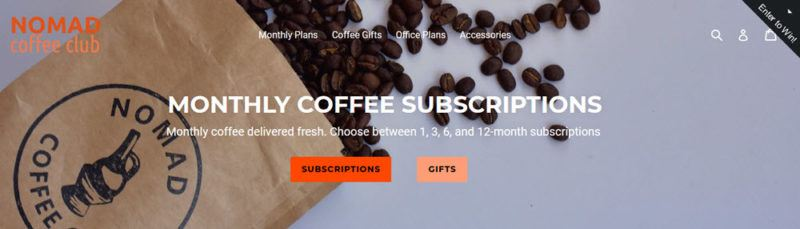 A website screenshot from the Nomad Coffee Club showing a bag of coffee spilling out onto a blye gray background