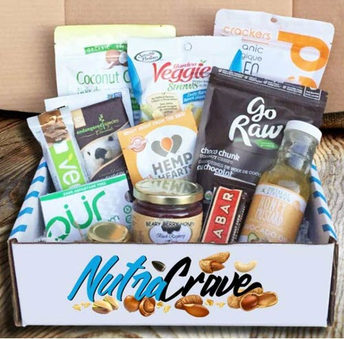 A box of healthy and raw snacks