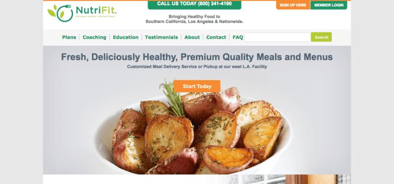 NutriFit website screenshot showing a bowl of roasted potatoes.