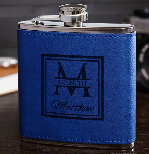 Blue leather flask with a square and text engraved