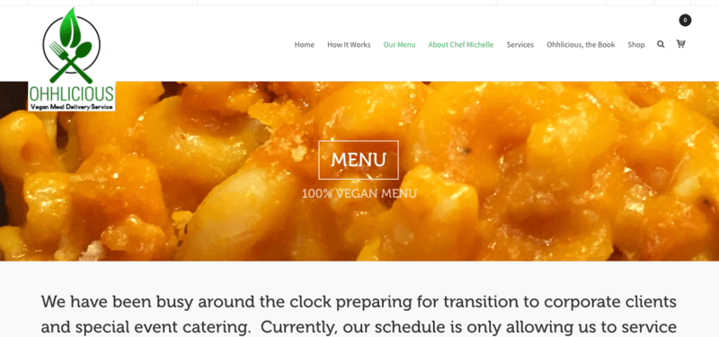 Ohhlicious website screenshot showing a mac and cheese meal