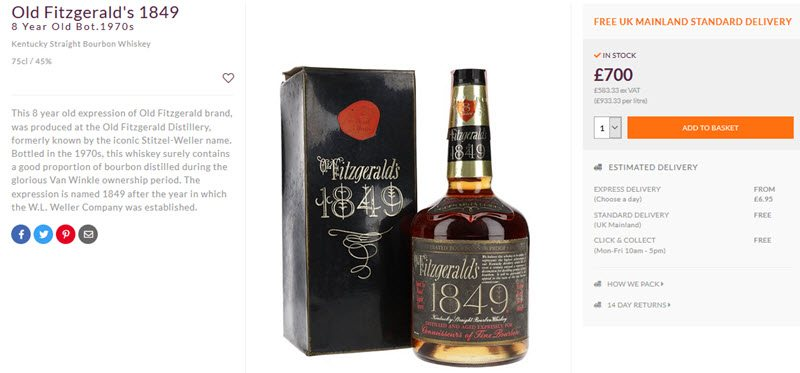 A bottle of Old Fitzgerald's 1849 whiskey with its box, pricing information and a description