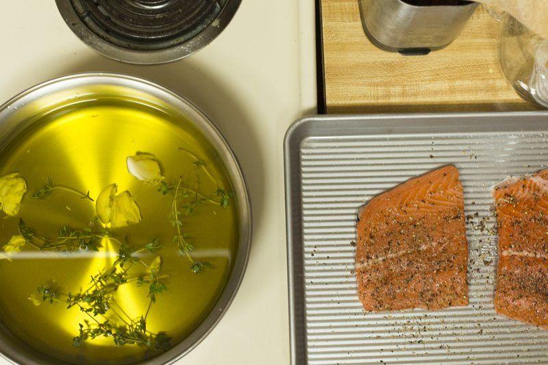 Olive Oil Poaching Garlic Salmon Thyme Stove Salmon