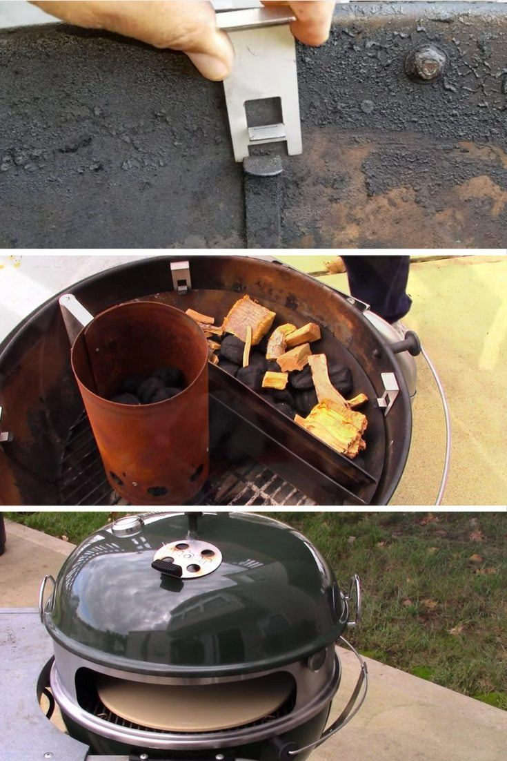 OnlyFire Pizza Oven Kit With brackets to raise the grate of the charcoal grill