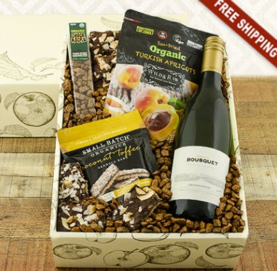 A box with wine, snacks and interesting filling.