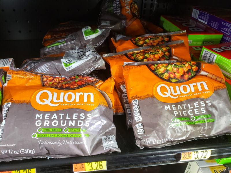 Packets of Quorn meatless grounds and meatless pieces in a grocery store