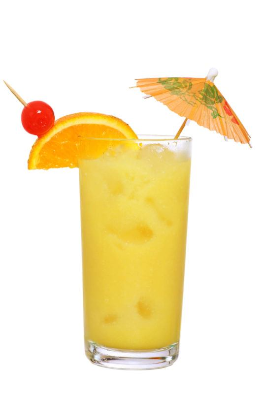 A painkiller cocktail with orange juice and ice