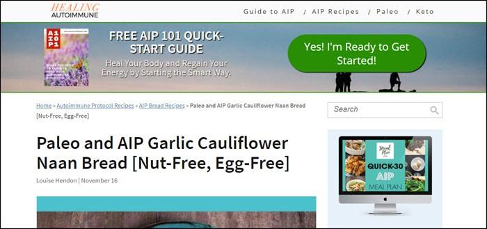 Website screenshot from Healing Autoimmune