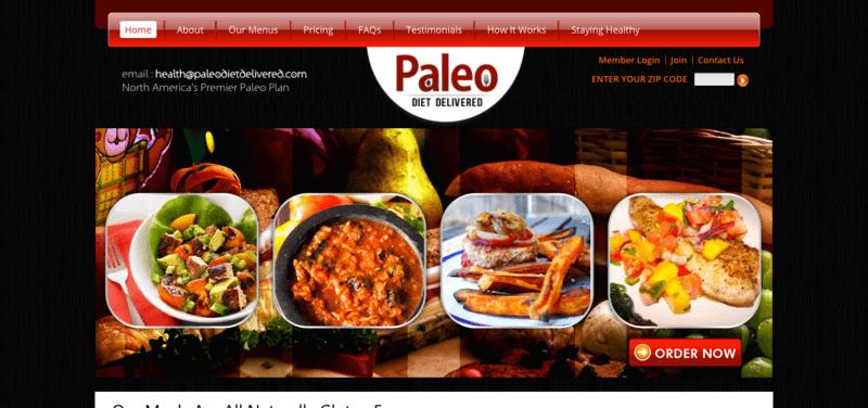 Paleo Diet Delivered website showing four meals