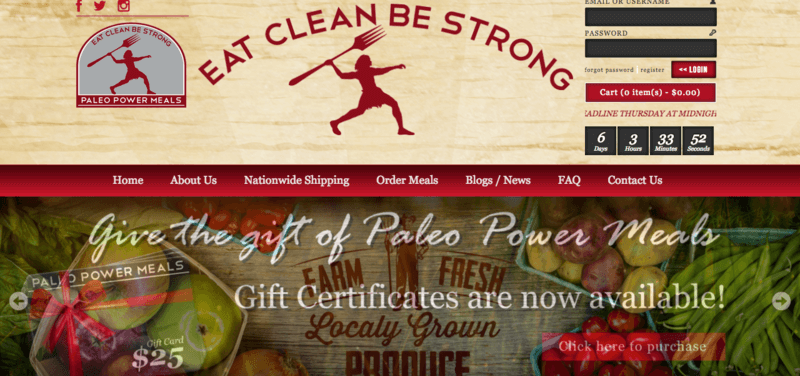 Paleo Power Meals with various fruits and vegetables, along with the 'Eat Clean Be Strong' tagline