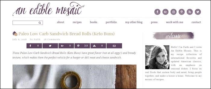 Website screenshot from An Edible Mosaic