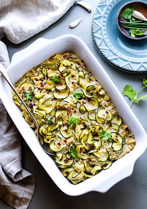A zoodle casserole with tuna