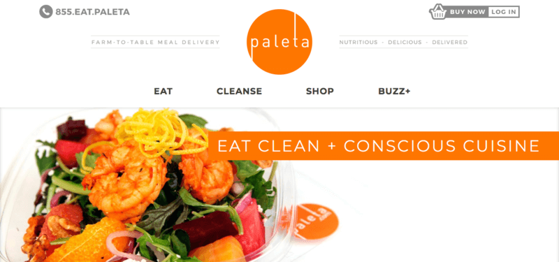 Palenta website screenshot showing a salad with oranges, shrimp and many other ingredients