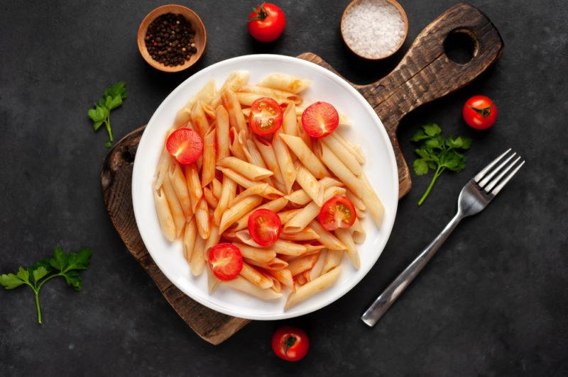 Pasta in a bowl with tomatoes