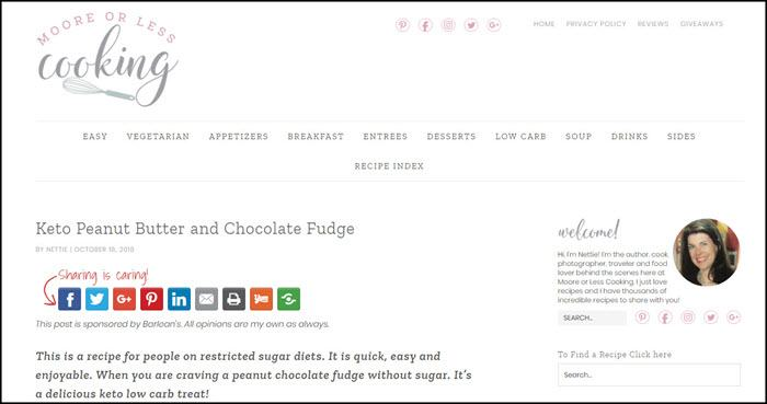Website screenshot from Moore or Less Cooking