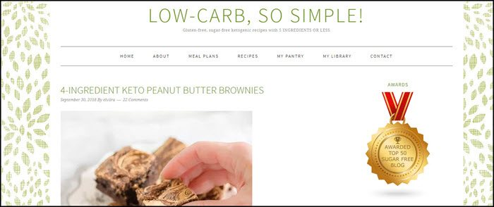 Website screenshot from Low-Carb, So Simple!