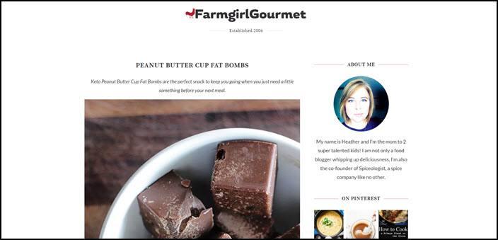 Website screenshot from Farmgirl Gourmet