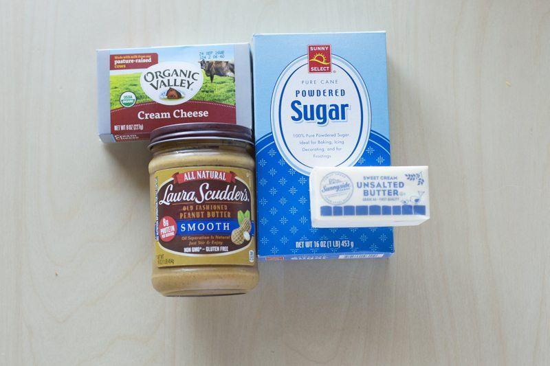 Peanut Butter Frosting Ingredients Prep Powdered Sugar Butter