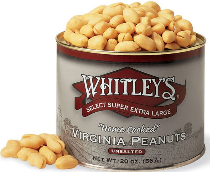 Open Canister of Whitley's Select Super Extra Large - Home Cooked - Virginia Peanuts unsalted.  Small pile of peanuts leaning at the base of the canister