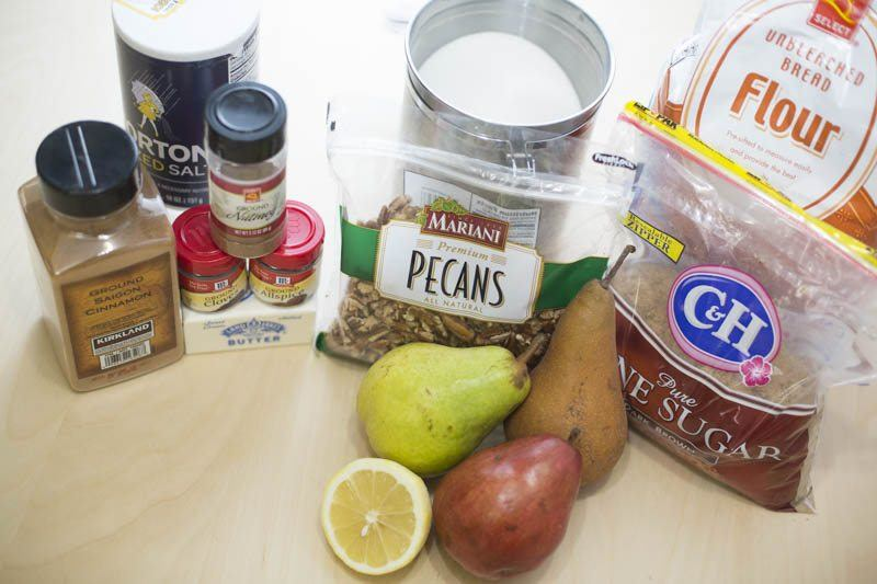 Pear & Pecan Crumble Pie Ingredients