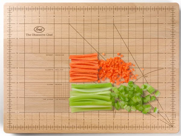 Cutting board with many measuring lines.