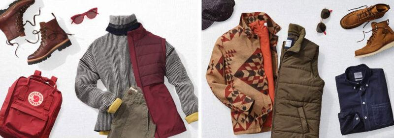 Two selections of clothing from the service Personal Shopper by Prime Wardrobe