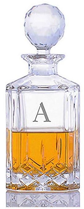 A square decanter with a ball cap and a letter 'A'
