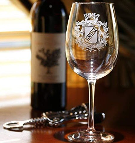 Wine glass with a deep engraved family crest
