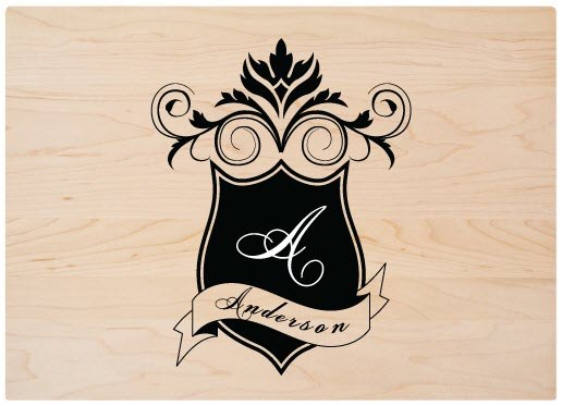 Cutting board with a family shield in black