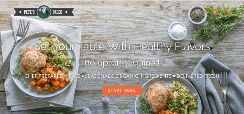 screenshot of pete's paleo website showing two prepared dinners that include chicken, carrots and a salad.