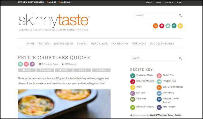 Website screenshot from Skinny Taste.