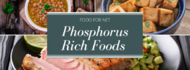 A selection of three types of phosphorous rich foods, including tofu, pork, and beans